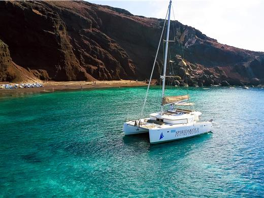 Private Luxury Catamaran Cruise with Cocktails, Lunch or Dinner - Catamaran Cruises - Santorini View