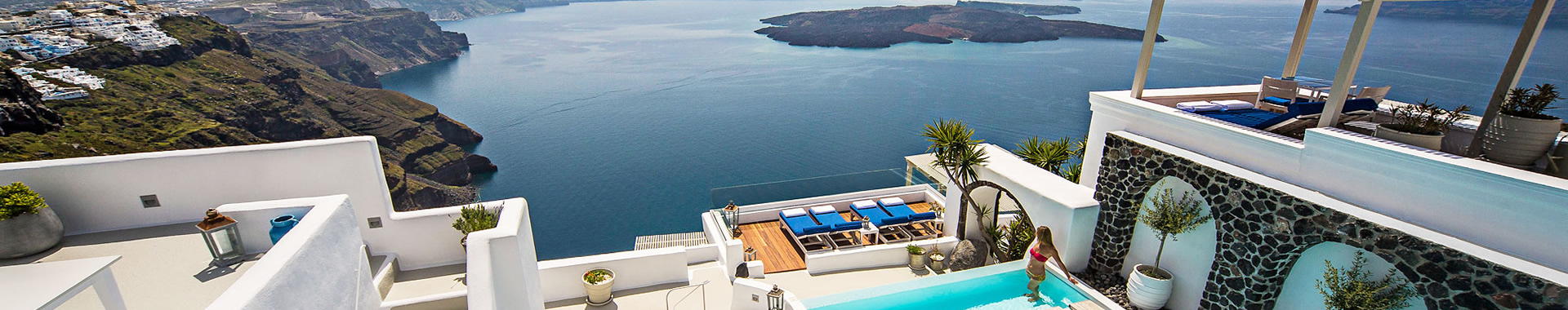 Fira, Akrotiri, Kamari or Vourvoulos Hotels in Santorini island, Greece