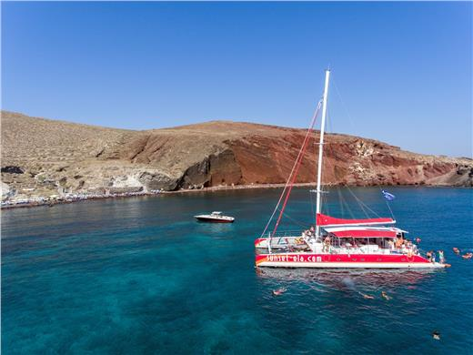 Catamaran Boat Tour in Santorini with BBQ and Drinks - Catamaran Cruises - Santorini View