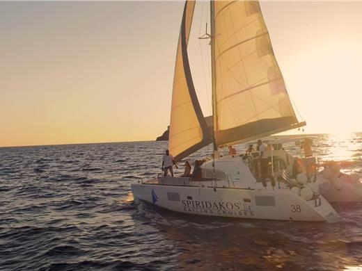Luxury Catamaran Sunset Cruise with Cocktails and full BBQ meal - Catamaran sailing cruises - Santorini View