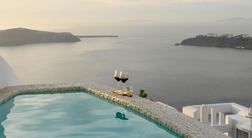 above blue suites hotels in imerovigli caldera aerial preview santorini view. Black Bedroom Furniture Sets. Home Design Ideas