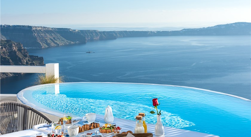 Aqua Luxury Suites Santorini, Hotels in Imerovigli Caldera, Aerial Preview - Santorini View