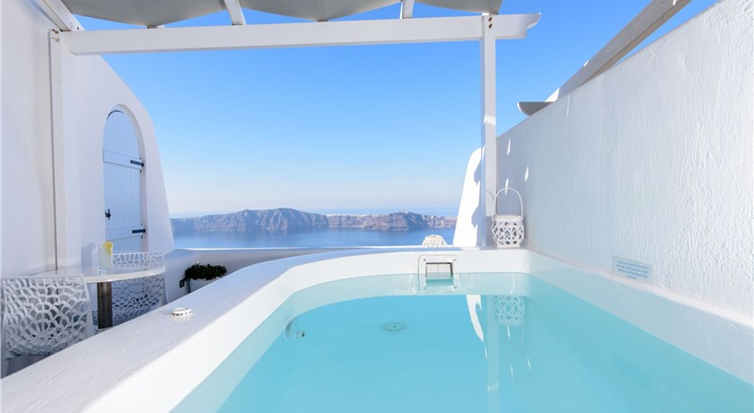 Dreaming View Suites, Hotels in Imerovigli Caldera, Aerial Preview - Santorini View
