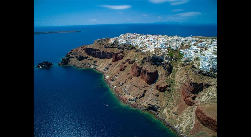 Aris Caves Hotels In Oia Caldera Aerial Preview