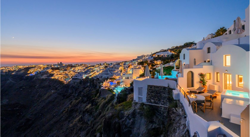 Ikies Traditional Houses, Hotels in Oia Caldera, Aerial Preview - Santorini View