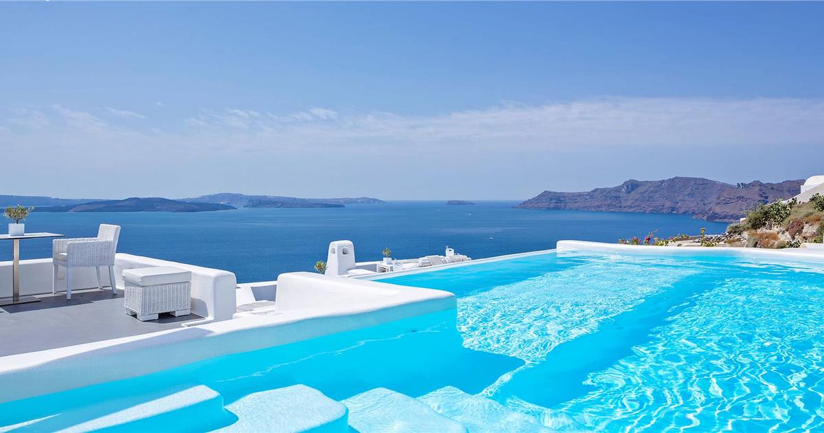 top 90 santorini hotels with infinity pool online booking santorini view. Black Bedroom Furniture Sets. Home Design Ideas