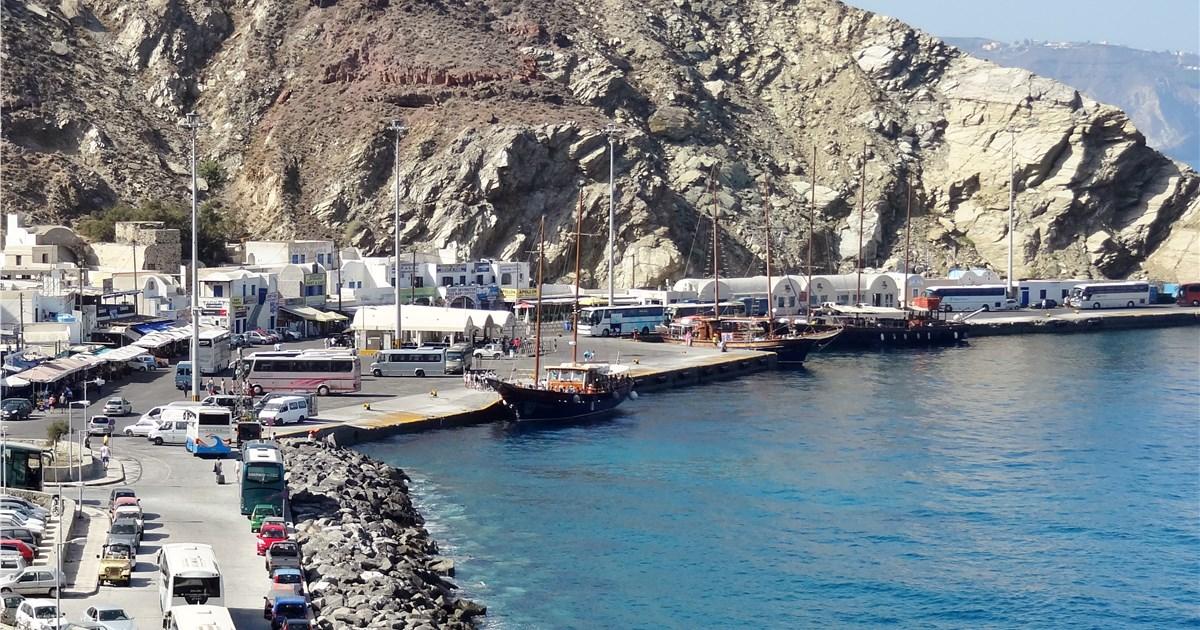 Athinios port in Santorini