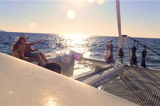 Photo of Small-Group Catamaran Cruise in Santorini with BBQ Lunch/Dinner and Drinks