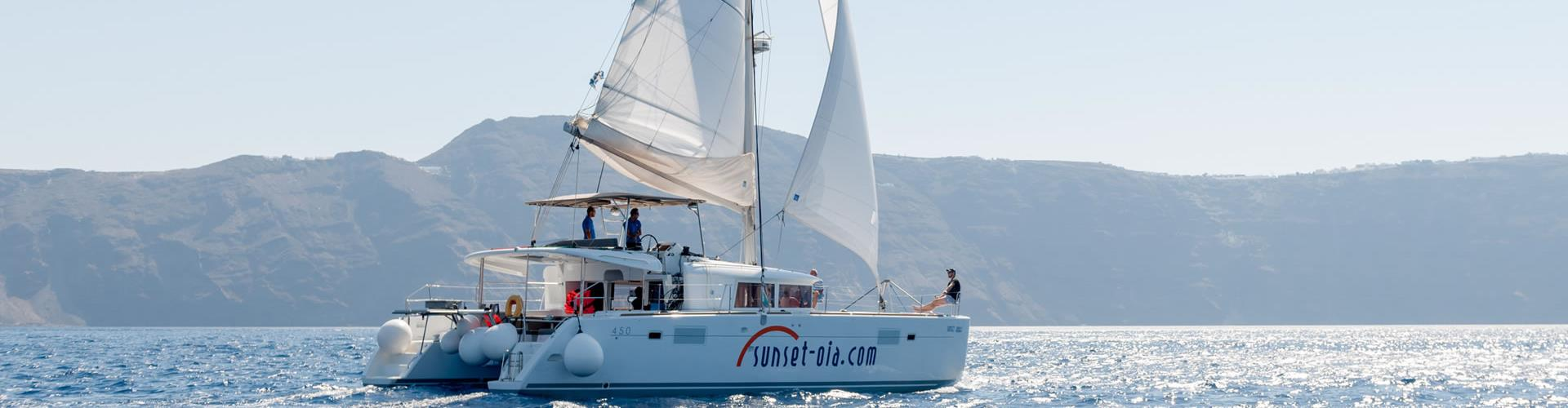 Photo of Luxurious Small-Group Catamaran Cruise in Santorini with BBQ and Drinks